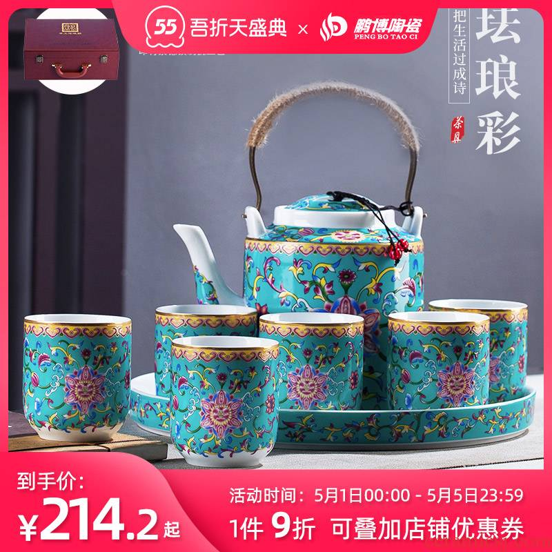 Cool ceramic kettle pot set home old archaize high - temperature large capacity of the teapot colored enamel kettle