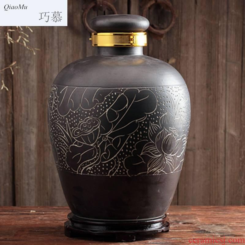 30 jin Qiao mu jingdezhen it empty jar pot liquor wine 50 kg archaize home mercifully bottle ceramic belt