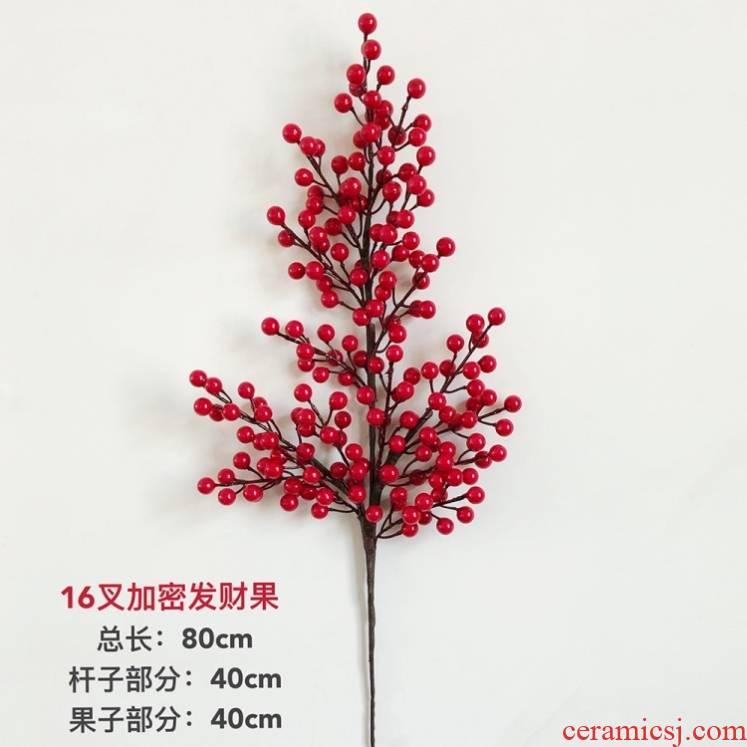 During the simulation flower crabapple rich fruit acacia red beans dry flower, glass vases, flower arranging fake flower ceramic sitting room decoration