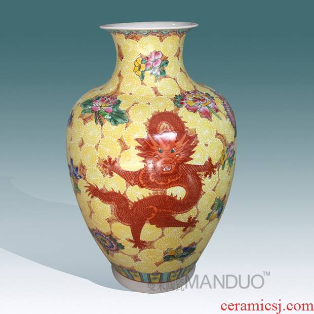 Jingdezhen hand - made pastel terrible dragon vase high - grade high - grade gift porcelain vase furnishing articles in the living room