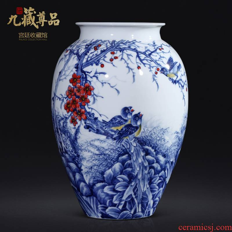 The Master of jingdezhen ceramics hand - made Chinese blue and white porcelain vase sitting room porch TV ark, flower adornment furnishing articles