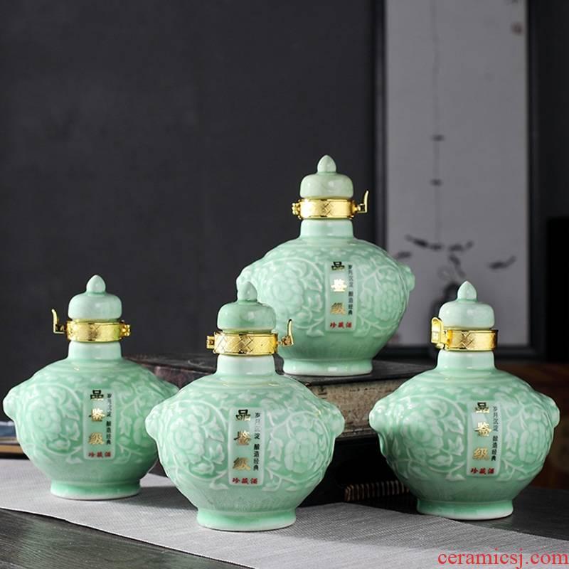 Qiao mu 1 catty ceramic pot SanJiu wine bottle sealed empty bottle liquor move furnishing articles. A kilo