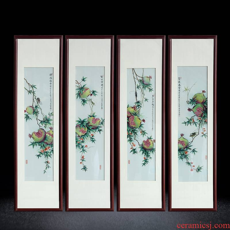 Jingdezhen porcelain plate painting pomegranate plant study ceramic decoration painting the sitting room porch hang a picture sofa background picture