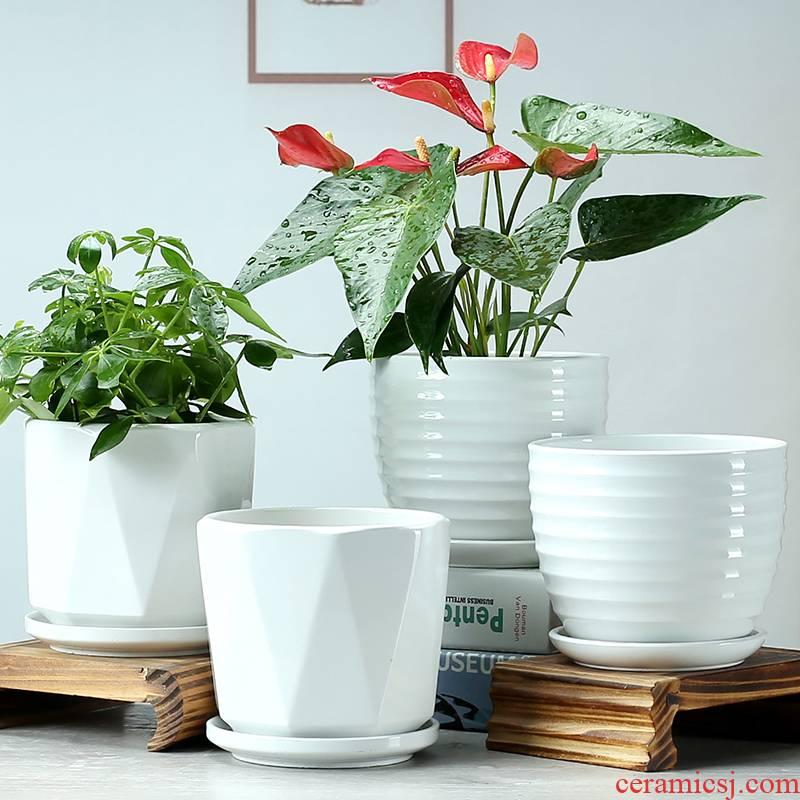 Large deep pot blue flower pot expressions using basin grow rich ceramic basin high indoor household money plant trees