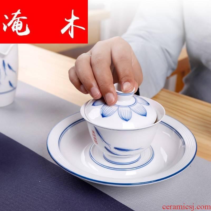 Flooded wooden thin foetus dehua white porcelain hand grasp tureen hand three blue and white porcelain cup to make tea household kung fu tea set
