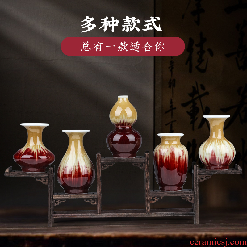 Jingdezhen ceramics antique ruby red mini floret bottle of new Chinese style living room rich ancient frame wine cabinet office furnishing articles