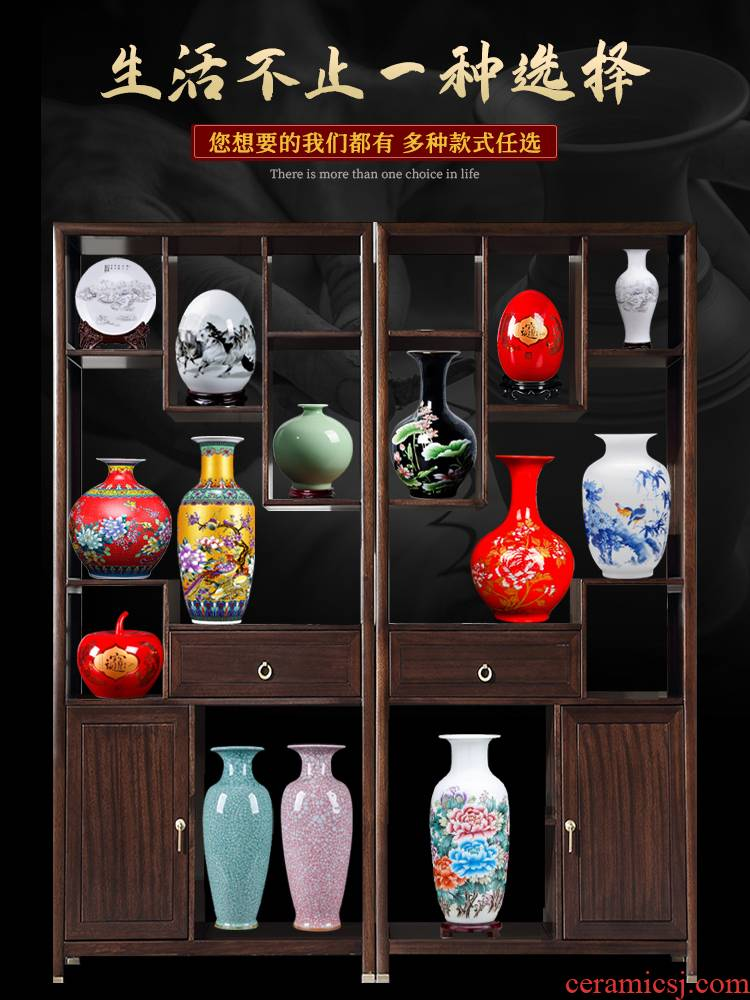 Jingdezhen blue and white porcelain floret bottle ceramic rich ancient frame place flower arranging Chinese porcelain office sitting room adornment