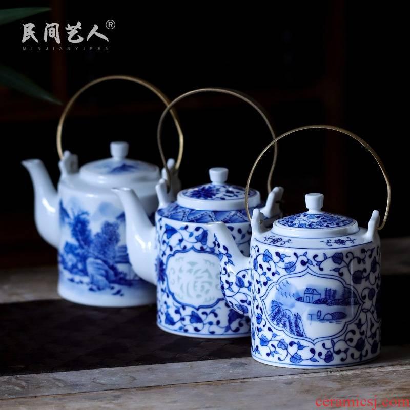 Jingdezhen blue and white porcelain hand - made teapot large cool single CiHu big kettle pot pot teapot household porcelain girder