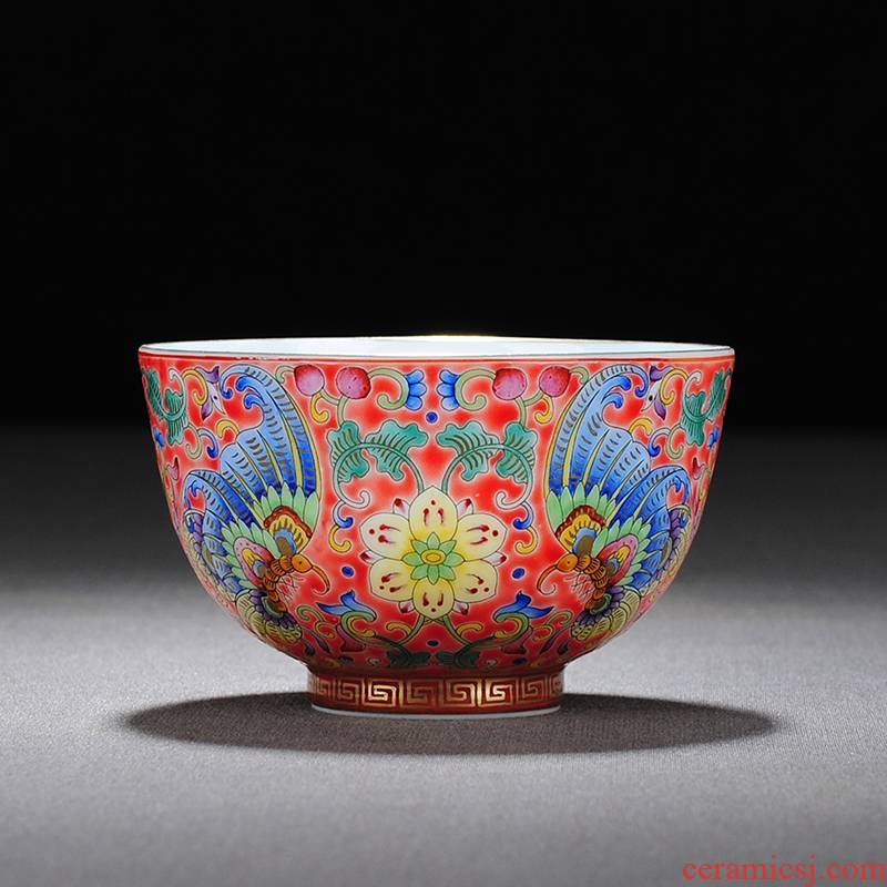 "【 5.3 】 jingdezhen pure manual hand - made colored enamel ""butterfly dream"" master sample tea cup"