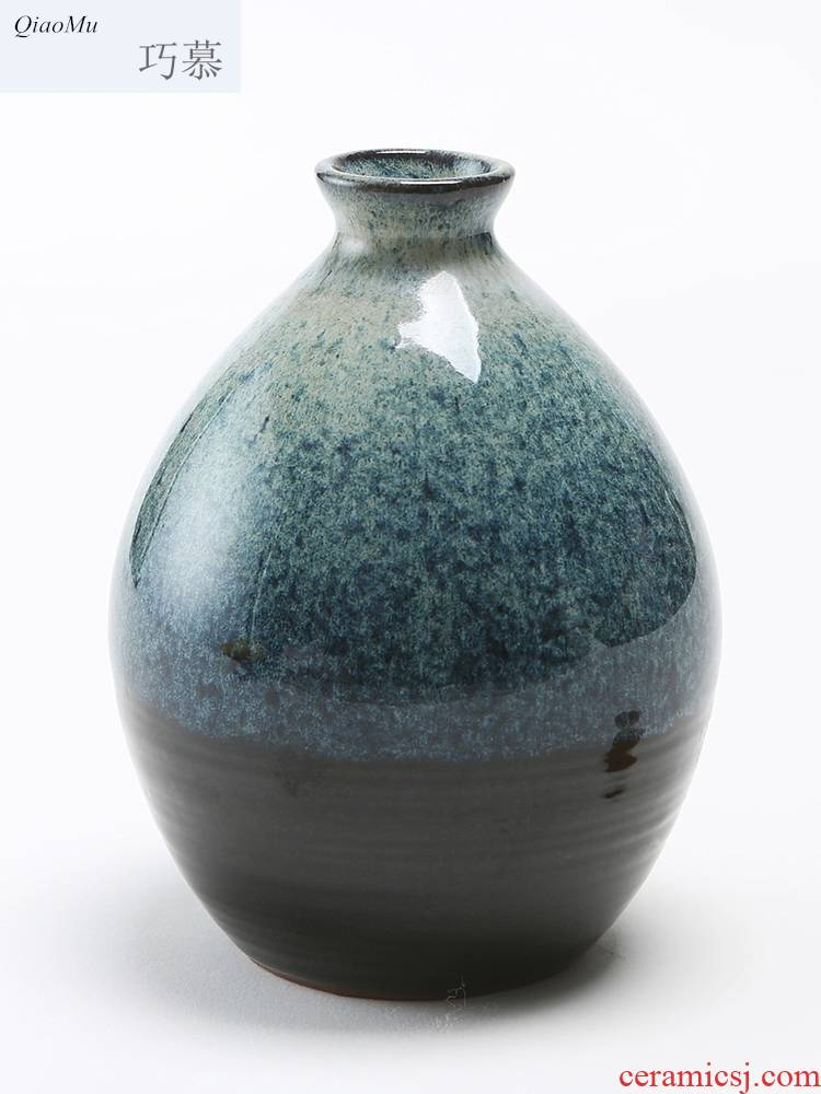 Qiao mu ceramic yixing 1 catty earthenware bottle altar variable glaze flower vases and wind Japanese 500 ml flask