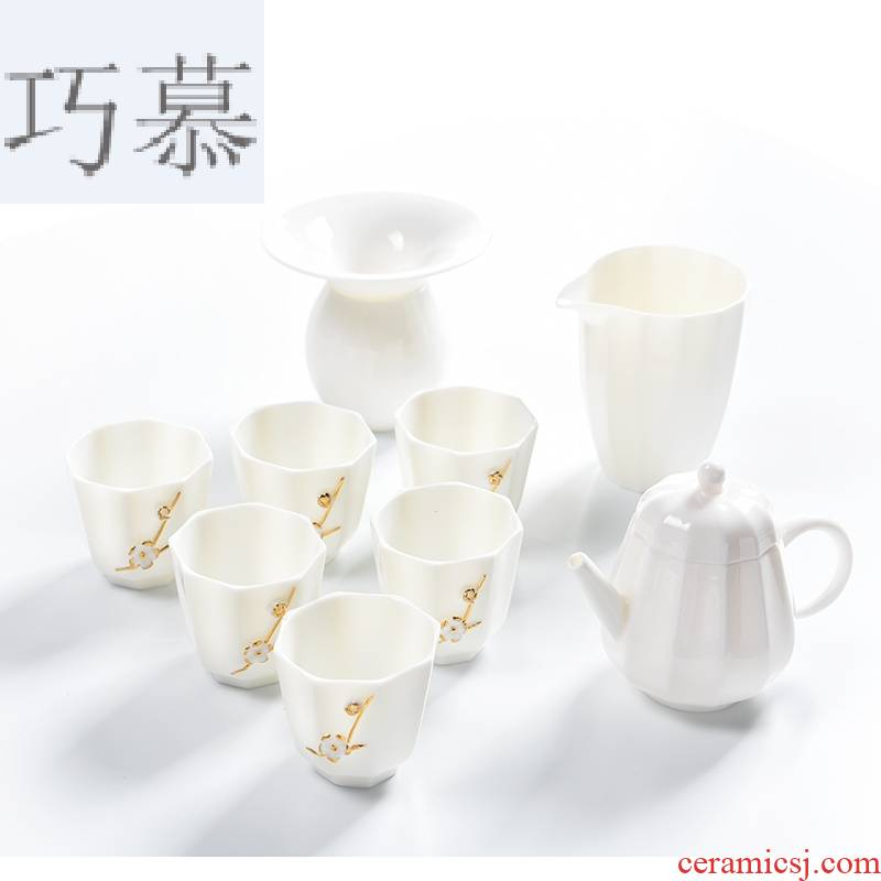 Longed for home opportunely white jade porcelain teapot teacup suit thin foetus kung fu tea set suet white porcelain Japanese contracted tea taking
