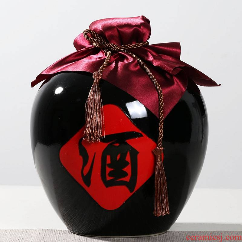Qiao mu jingdezhen ceramic household hip small bottle seal storage jars wine, black wine 1/2/3/5/10