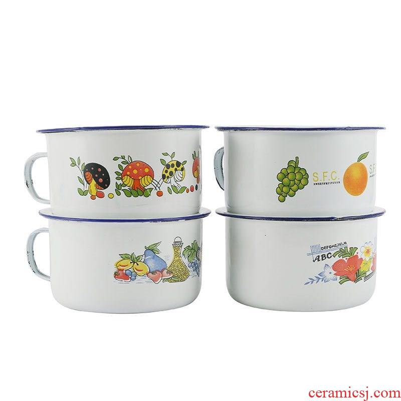 Take the enamel cup noodles snack cylinder enamel cup bowl of old enamel with cover cup 14 cm16cm nostalgia