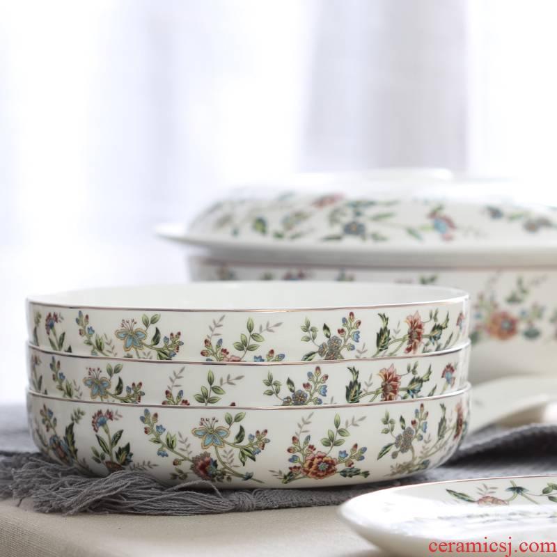 Deepen household food dish deep dish ipads porcelain ceramic tableware circular salad dish special nest dish FanPan large plates