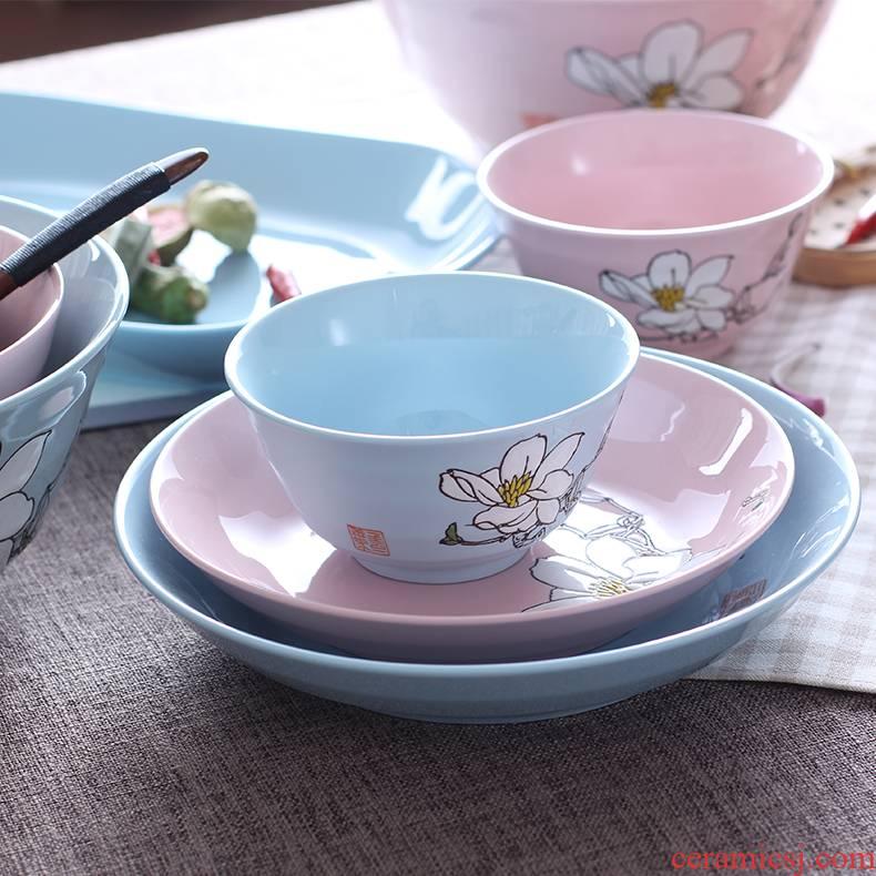 Porcelain powder blue ceramic gravity 0 fish salad bowl big bowl the rice bowls of household hand - made tableware DIY