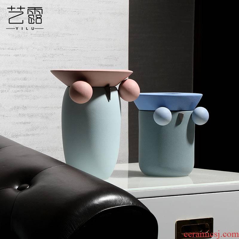 The owl flower implement morandi Scandinavian minimalist geometric color ceramic vase household ins between example soft furnishing articles