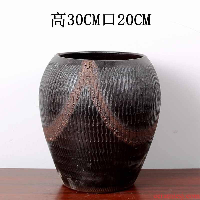 Extra large manual coarse pottery creative Chinese rose mage earthenware pottery flower POTS, large diameter green dominant high meat old basin