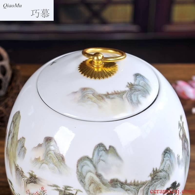 Qiao mu jingdezhen ceramic blue and white porcelain tea pot seal storage tank loose tea, green tea pu 'er tea box of medicinal materials
