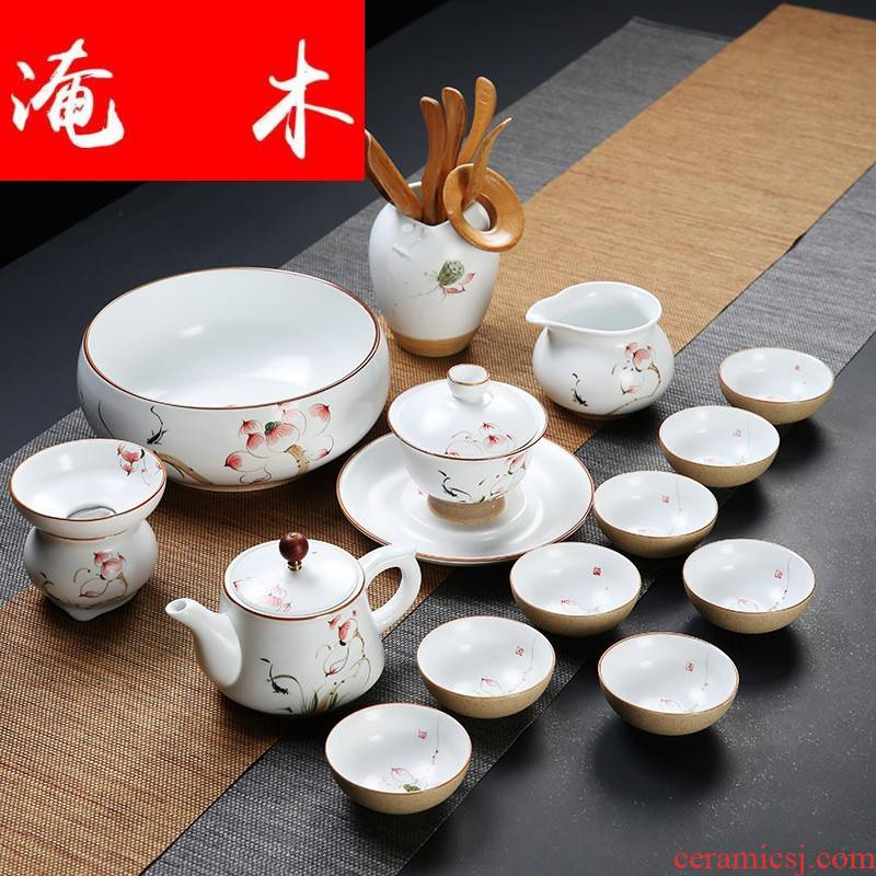 Submerged wood dehua hand - made kung fu tea set household contracted 6 only hand - made ceramic cup lid bowl of tea sets