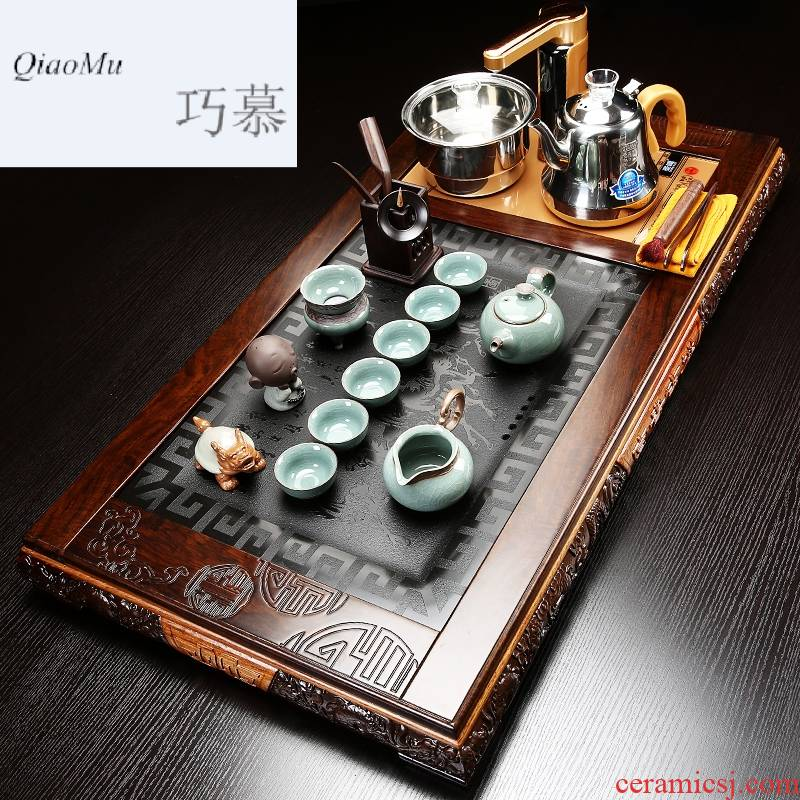 Longed for a whole set of home purple sand tea set opportunely ebony sharply stone tea tray was contracted Europe type four unity induction cooker