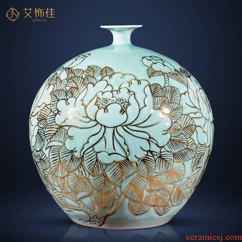 Jingdezhen ceramics hand - made of new Chinese style light see colour vase type pomegranate flower arranging office sitting room key-2 luxury furnishing articles