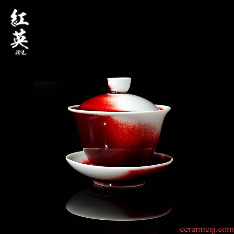 Jingdezhen ceramic up red ice crack glaze on only three tureen kung fu tea cups domestic tea bowl of tea