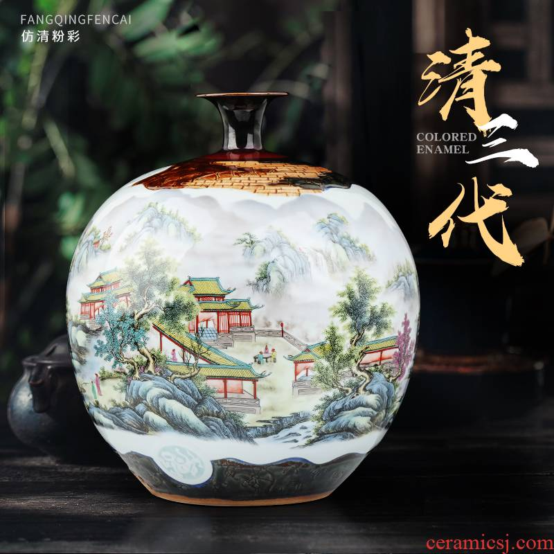 Jingdezhen ceramic vase Chinese famille rose porcelain of pomegranate carving house sitting room porch flower adornment furnishing articles