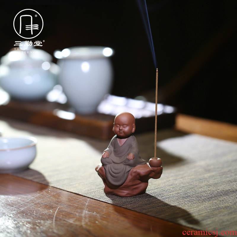 Three frequently hall creative purple sand tea pet furnishing articles zen Chinese playing mini monk tea tea accessories S06014