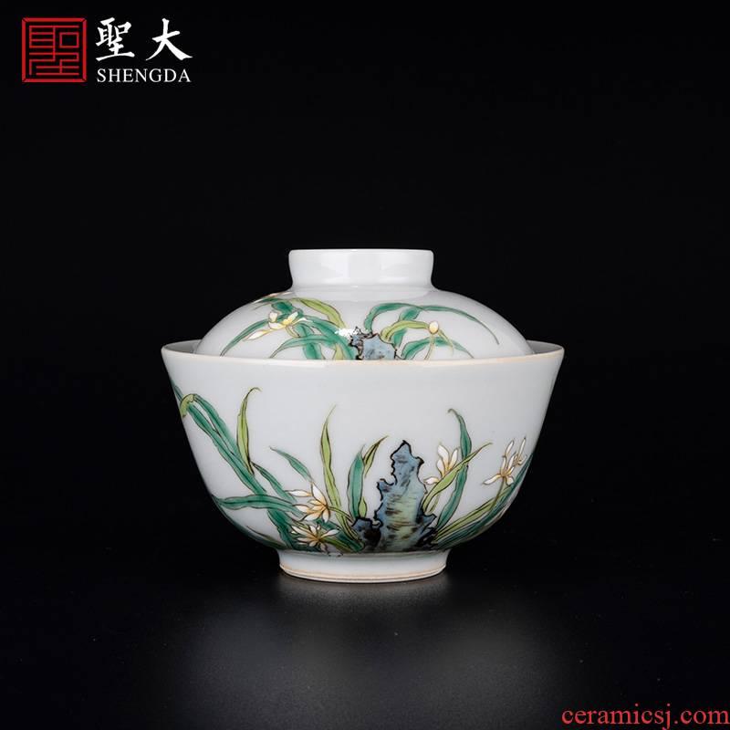 "Holy big ceramic famille rose ""refers to figure tureen kung fu tea cups suit household jingdezhen tea bowl"
