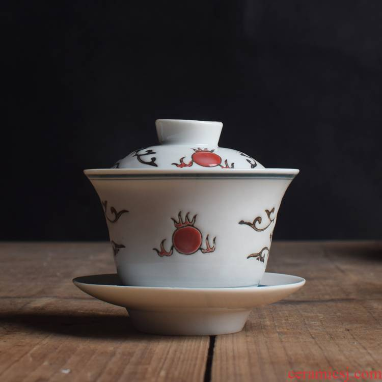 Submerged wood working chaozhou goods inventory old three to bowl of tea tureen ready fengxi old porcelain industry dust under the glaze carving series three cups