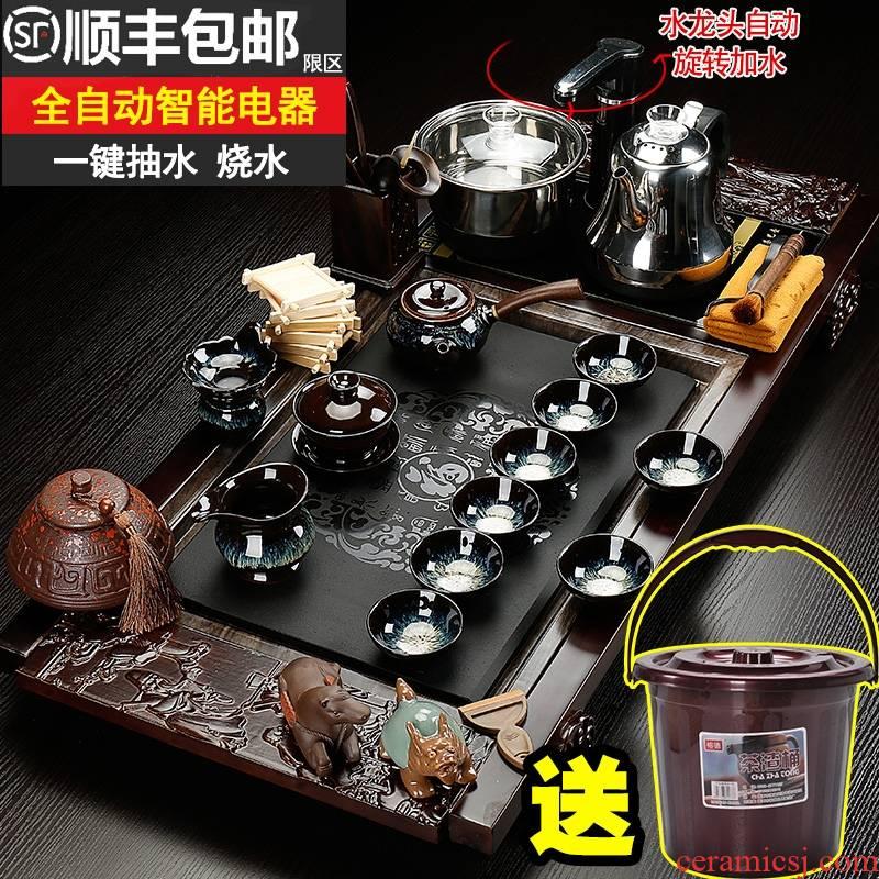 Qiao mu kung fu tea set domestic tea taking of a complete set of ceramic cups contracted tea tea table solid wood tea tray