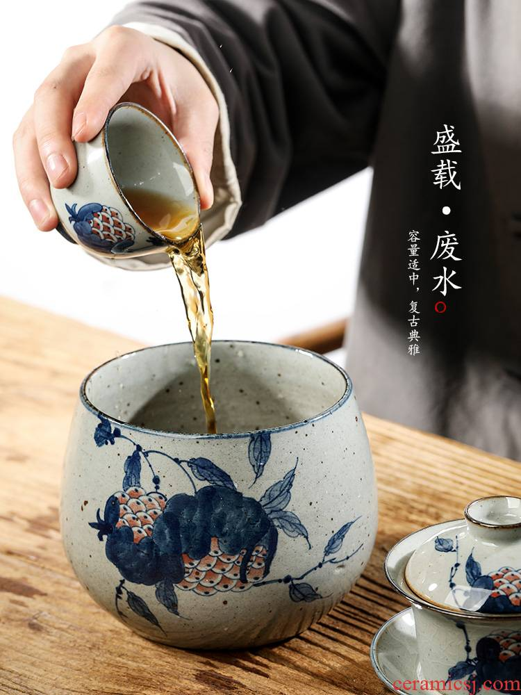 Jingdezhen blue and white washed large pure manual hand - made ceramic tea wash mud kung fu tea set home water jar is writing brush washer accessories