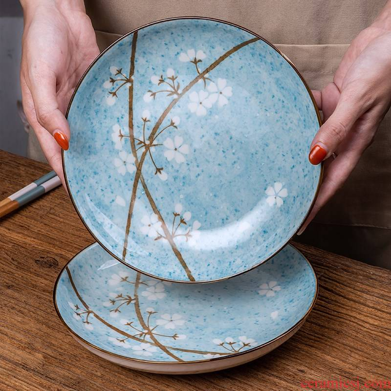 Four ceramic plate of Japanese dishes good - & household FanPan contracted circular plates can microwave dinner plate