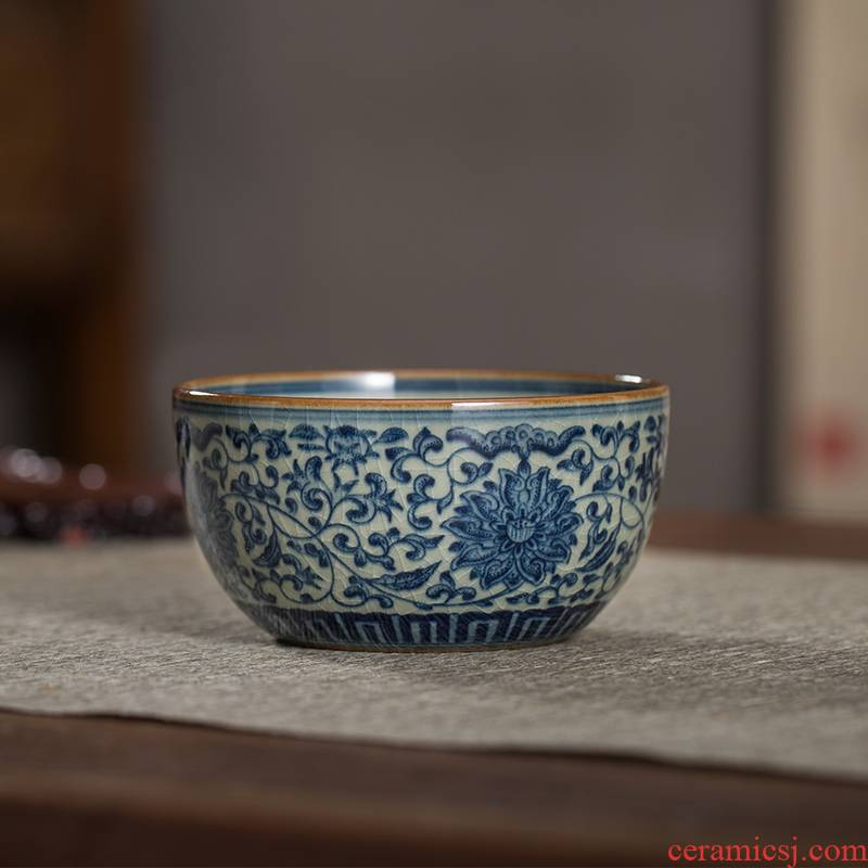 The Owl up jingdezhen porcelain clay old cup tie up branch lotus full master cup kunfu tea sample tea cup drawing
