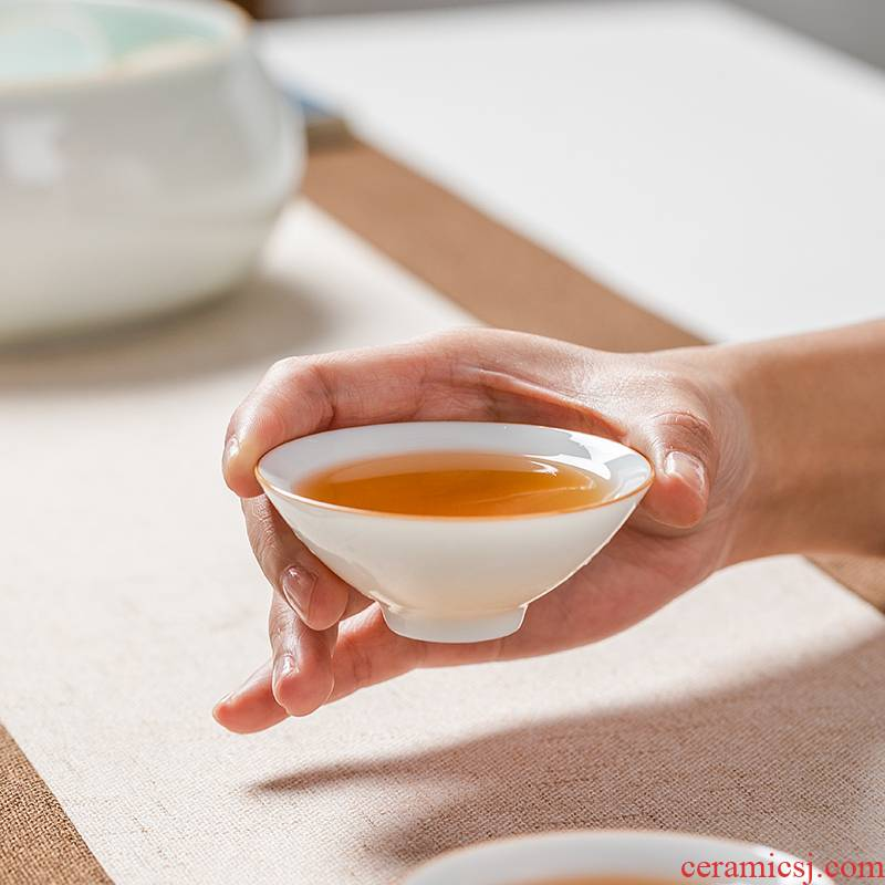 Sweet white porcelain ceramic cups kung fu home perfectly playable cup small sample tea cup tea set a single ultimately responds puer tea bowl