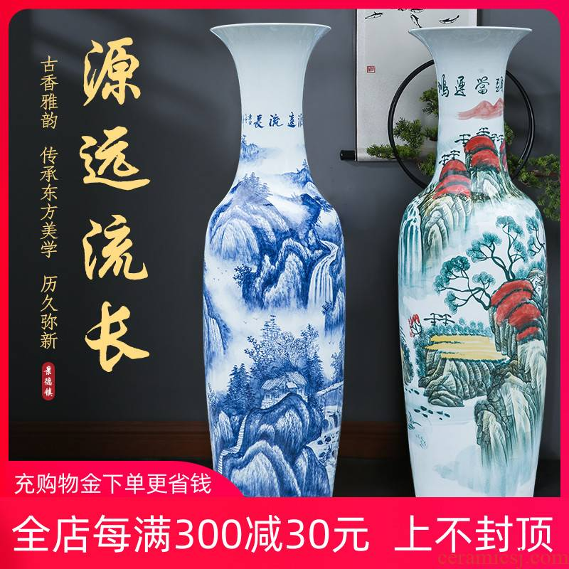 Hand of large blue and white porcelain is jingdezhen ceramic vases, new Chinese style sitting room adornment is placed heavy large opening
