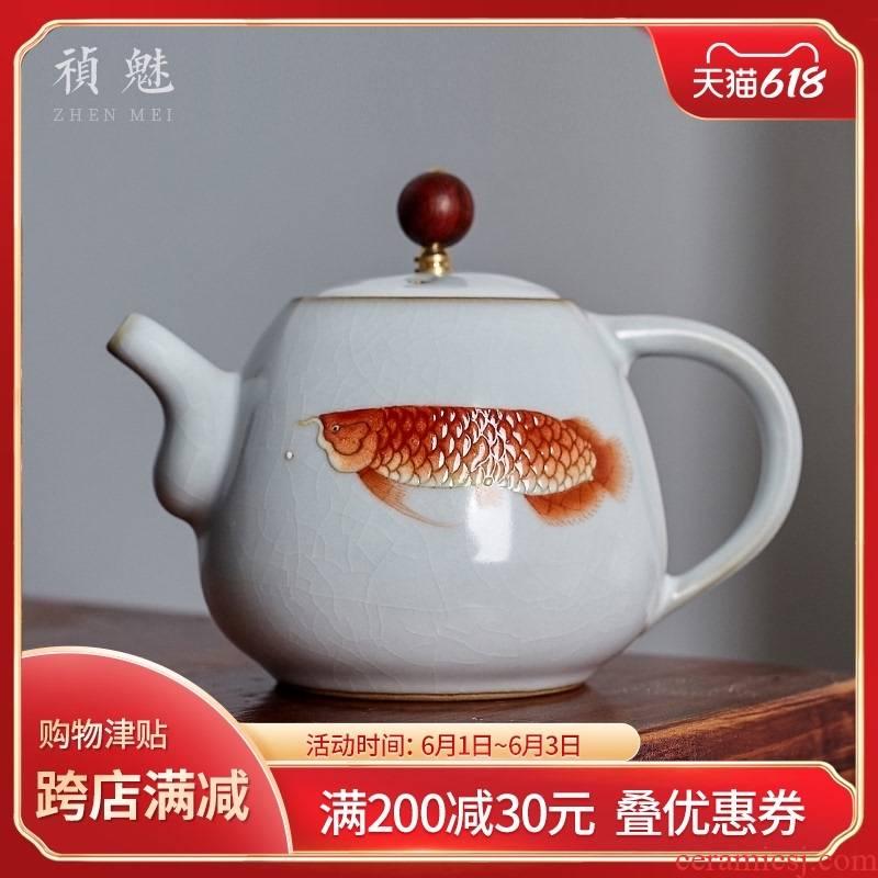 Shot incarnate your up hand - made of golden arowana teapot jingdezhen kung fu tea set home seven hole filter teapot single pot