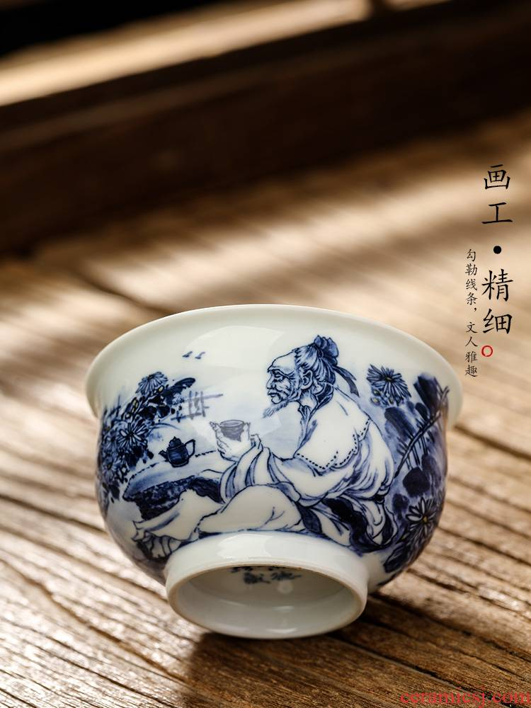 Jingdezhen porcelain hand - made master cup a cup of pure checking ceramic cups kung fu tea set figure sample tea cup only