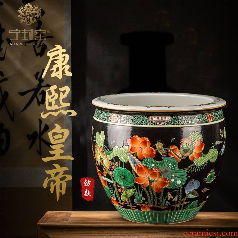 Better sealed up with jingdezhen hand - made ceramic vases, the the qing emperor kangxi, black lotus pattern lotus seed cylinder archaize furnishing articles