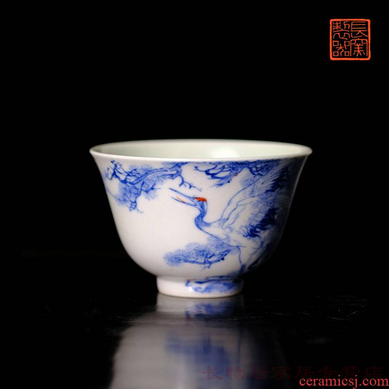 Long up offered home - cooked wen - bo xiong the teacher in jingdezhen blue and white youligong Korean pine crane, maintain a live bell cup tea cups