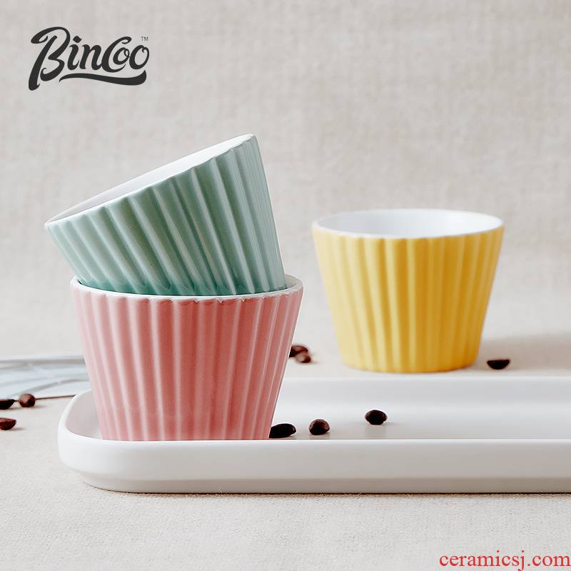 Bincoo ceramic vertical stripes marca dragon color coffee cup lovers suit Japanese good - & contracted a lovely cup