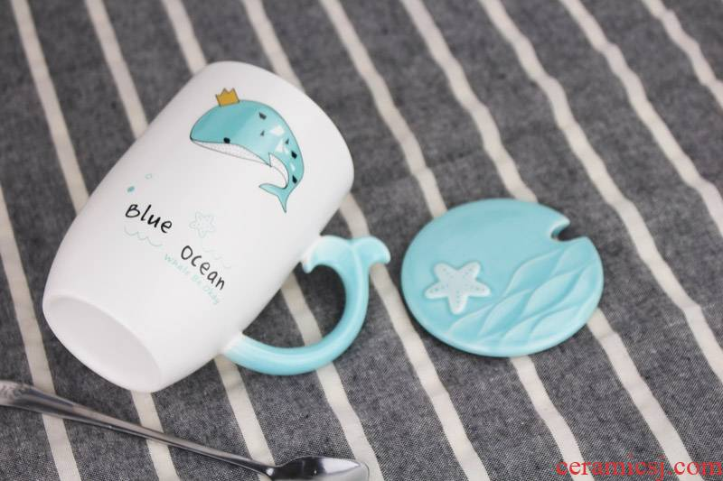 Qiao mu cup one creative lovely ceramic keller with cover with a spoon move office coffee milk