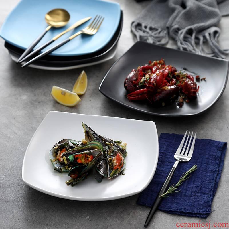 Creative 0 hotel restaurant tableware the crayfish flat tray was irregular large porcelain ceramic plates
