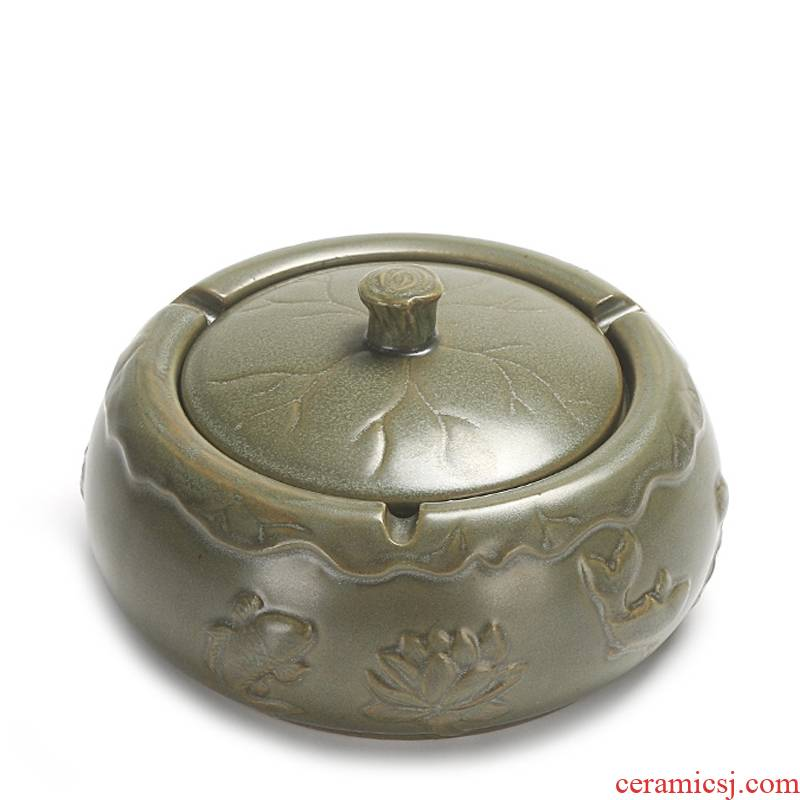 Qiao mu coarse pottery ashtray ceramic kung fu tea tea tray with cover sitting room office accessories tea tea tool