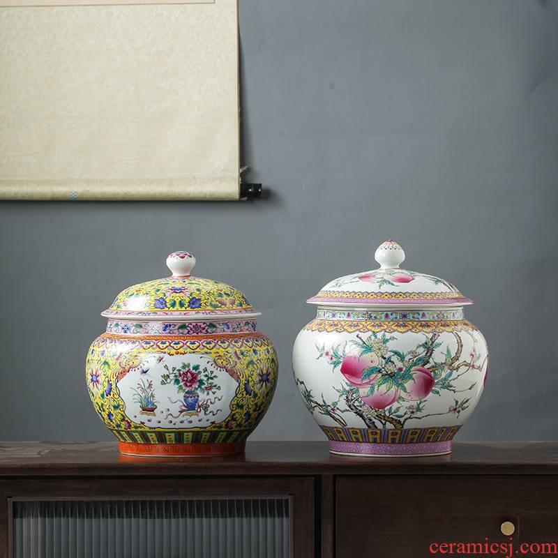 Archaize of jingdezhen ceramics powder enamel tea pot with cover large seal moisture puer tea cake storage jar