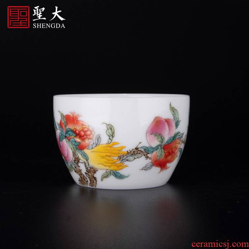 "Santa jingdezhen ceramic famille rose ""three photos"" master CPU high - end tea, pure manual hand - made kung fu tea cups"