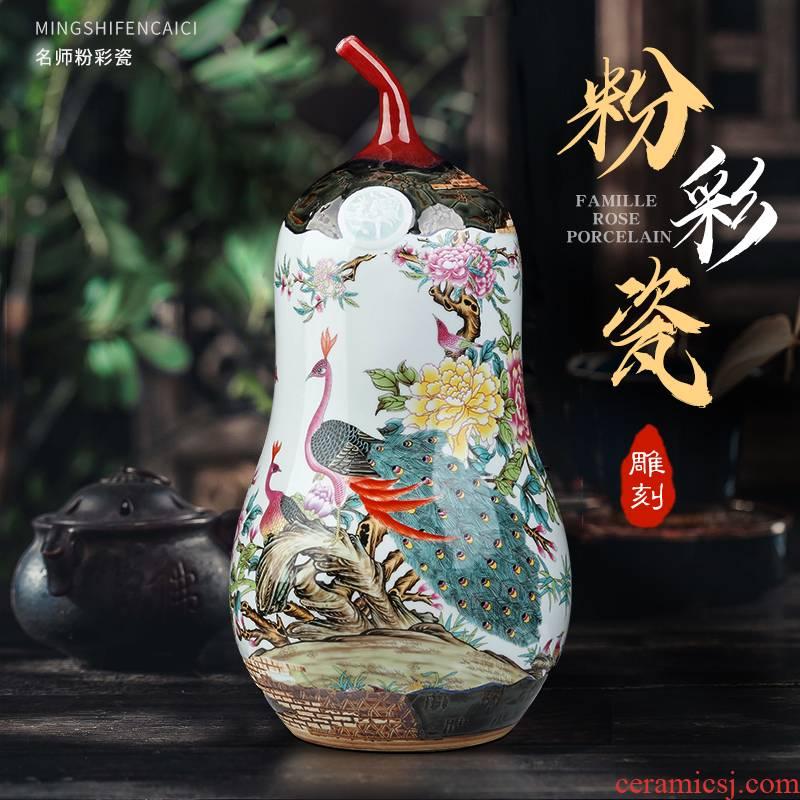 Jingdezhen ceramic vase furnishing articles famille rose porcelain carving flower arranging, home living room TV cabinet rich ancient frame adornment