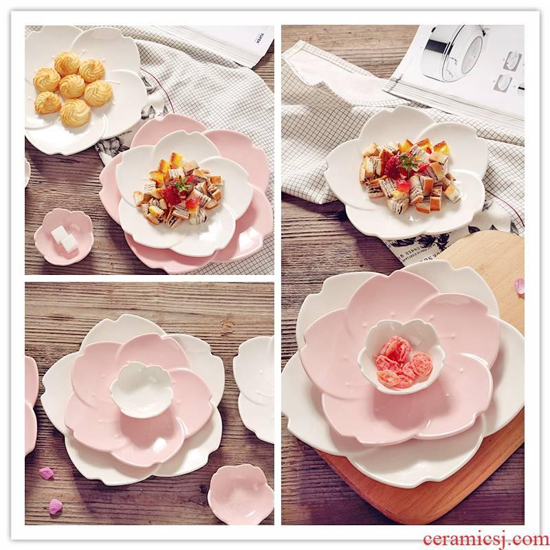 Japanese romantic cherry blossoms ceramic tableware breakfast dish fruit bowl western cow ribs porcelain dish dish dish vinegar dessert