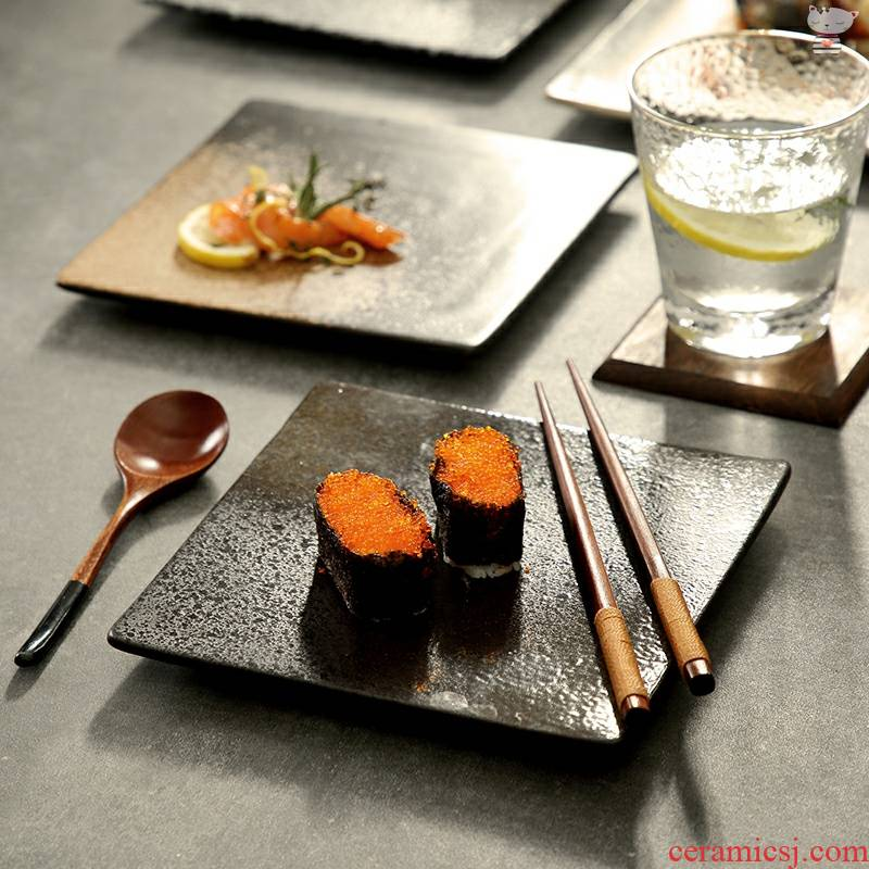 Yu 's quartet dish plate glaze flat surroundings while roast wing disc string barbecue plate saury ceramic plate