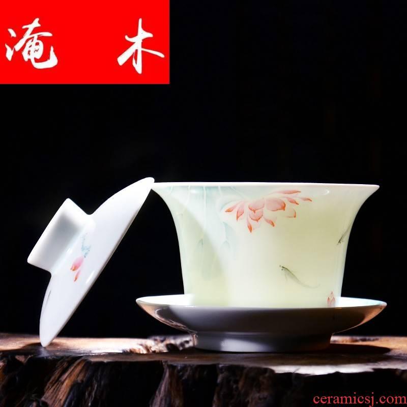 Submerged wood jingdezhen hand - made pastel shade green ceramic tureen tea kung fu tea set three cups to use